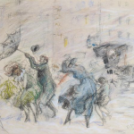 Everett Shinn, Windy Day, New York, 1898, pastel on paper, 14 x 20 inches