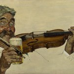 Norman Rockwell, The Fiddler, 1940, oil on canvas, 13 1/2 x 26 1/4 inches