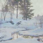 Walter Launt Palmer, Winter Reflections, oil on canvas, 30 1/2 x 30 1/4 inches